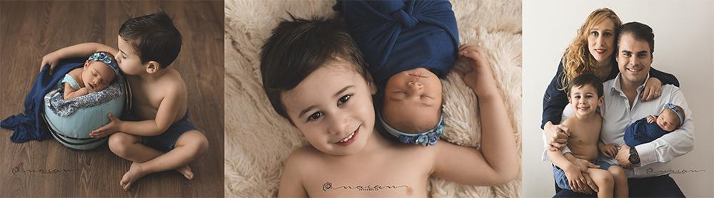 Fotografifía de recién nacido con hermanitos en Valencia